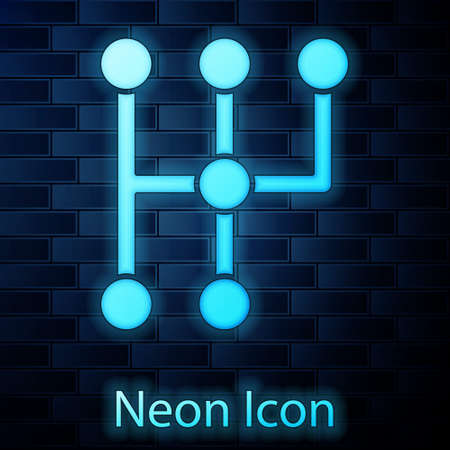 Glowing neon Gear shifter icon isolated on brick wall background. Transmission icon. Vector 矢量图像