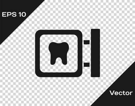 Black Dental clinic location icon isolated on transparent background. Vector Illustration