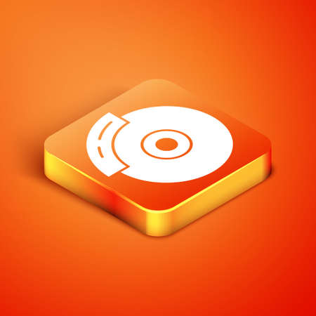 Isometric Car brake disk with caliper icon isolated on orange background. Vector
