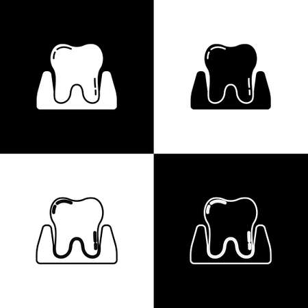 Set Tooth icon isolated on black and white background. Tooth symbol for dentistry clinic or dentist medical center and toothpaste package. Vector
