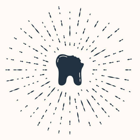Grey Broken tooth icon isolated on beige background. Dental problem icon. Dental care symbol. Abstract circle random dots. Vector