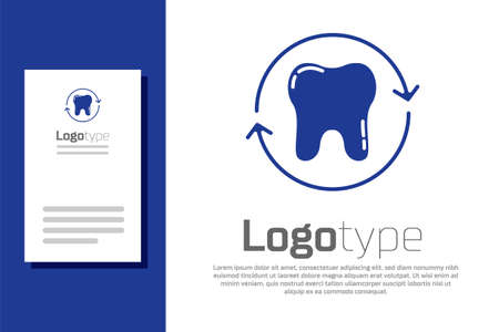 Blue Tooth whitening concept icon isolated on white background. Tooth symbol for dentistry clinic or dentist medical center. Logo design template element. Vector Illustration