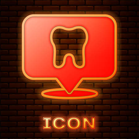 Glowing neon Dental clinic location icon isolated on brick wall background. Vector