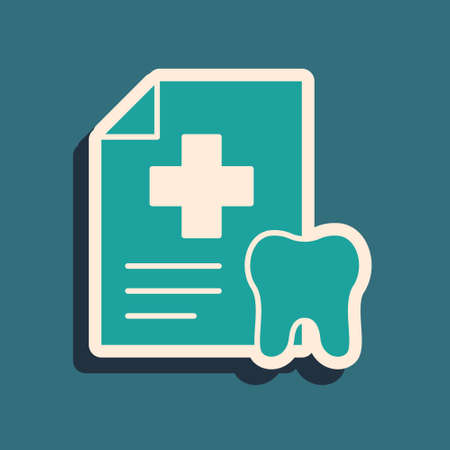 Green Clipboard with dental card or patient medical records icon isolated on green background. Dental insurance. Dental clinic report. Long shadow style. Vector