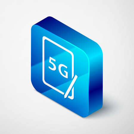 Isometric Graphic tablet with 5G wireless internet wifi icon isolated on grey background. Global network high speed connection data rate technology. Blue square button. Vector 矢量图像