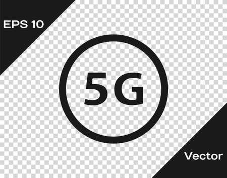 Black 5G new wireless internet wifi connection icon isolated on transparent background. Global network high speed connection data rate technology. Vector 矢量图像