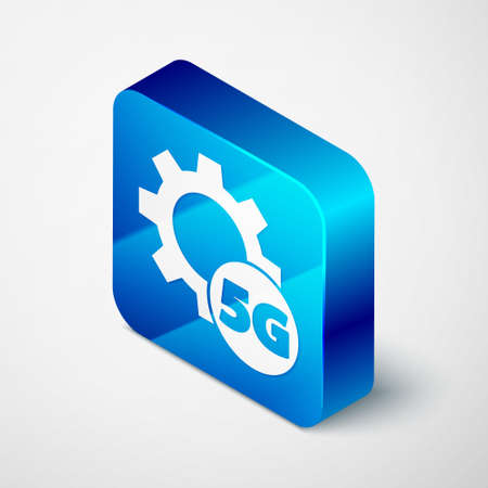 Isometric Setting 5G new wireless internet wifi connection icon isolated on grey background. Global network high speed connection data rate technology. Blue square button. Vector 矢量图像