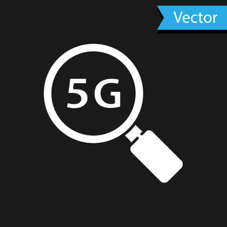 White Search 5G new wireless internet wifi connection icon isolated on black background. Global network high speed connection data rate technology. Vector 矢量图像
