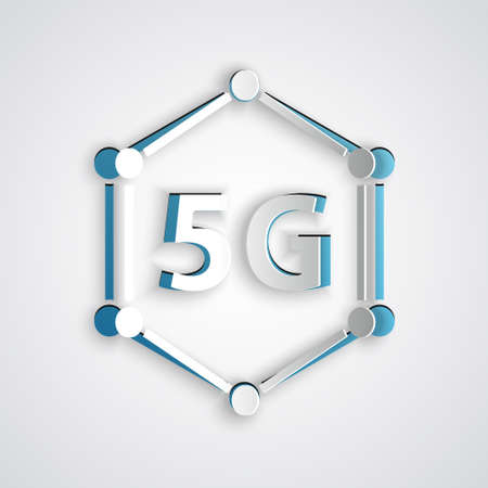 Paper cut 5G new wireless internet wifi connection icon isolated on grey background. Global network high speed connection data rate technology. Paper art style. Vector
