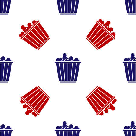 Blue and red Popcorn in cardboard box icon isolated seamless pattern on white background. Popcorn bucket box. Vector
