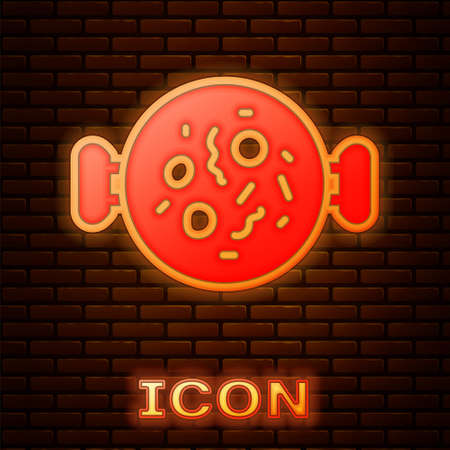 Glowing neon Chicken tikka masala icon isolated on brick wall background. Indian traditional food. Vector Illustration