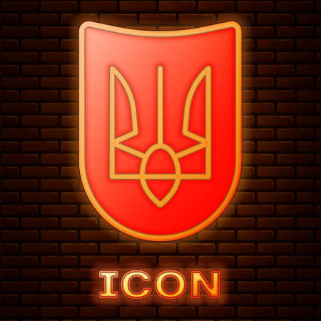 Glowing neon National emblem of Ukraine icon isolated on brick wall background. Ukrainian trident. Vector