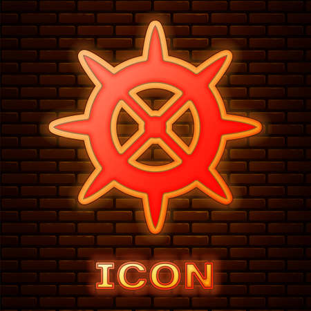 Glowing neon Bicycle sprocket crank icon isolated on brick wall background. Vector 矢量图像