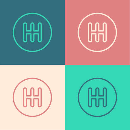 Pop art line Gear shifter icon isolated on color background. Transmission icon. Vector 矢量图像