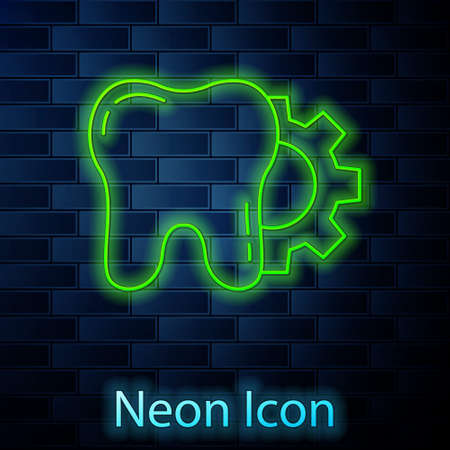 Glowing neon line Tooth treatment procedure icon isolated on brick wall background. Tooth repair with gear. Vector