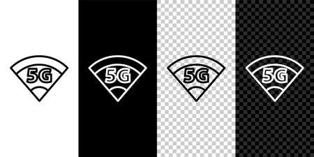 Set line 5G new wireless internet wifi connection icon isolated on black and white background. Global network high speed connection data rate technology. Vector 矢量图像