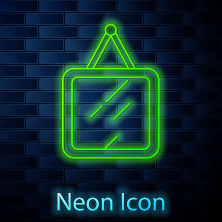 Glowing neon line Mirror icon isolated on brick wall background. Vector