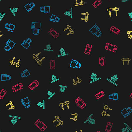 Set line Safe combination lock, Antenna, Router and wi-fi signal and Smartphone on seamless pattern. Vector Illusztráció