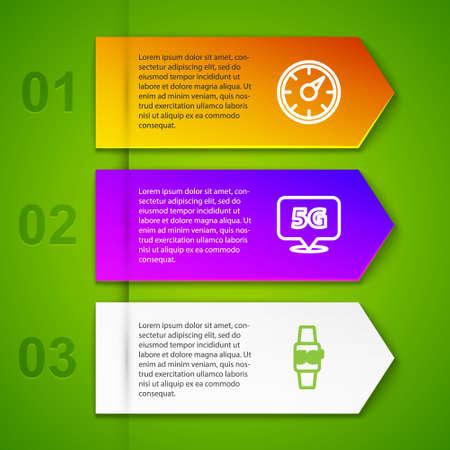 Set line Digital speed meter 5G, Location network, Smart watch and Cloud. Business infographic template. Vector Illusztráció