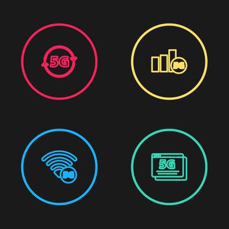 Set line 5G network, , and icon. Vector Illusztráció