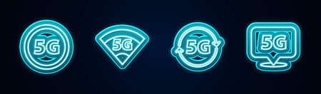 Set line 5G network, , and Location. Glowing neon icon. Vector