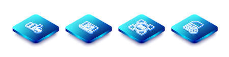 Set Isometric line 5G network, Laptop with, and Sim card rejected icon. Vector