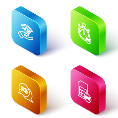 Set Isometric line 5G network, Digital speed meter, and Sim Card icon. Vector