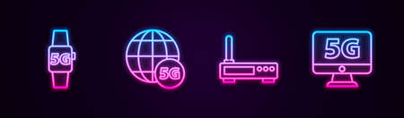 Set line Smart watch 5G network, , Router and wi-fi signal and Monitor with. Glowing neon icon. Vector