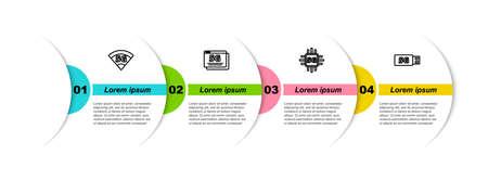 Set line 5G network, , Processor and modem. Business infographic template. Vector Illusztráció