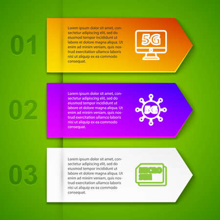 Set line Monitor with 5G network, , Micro Sim Card and Graphic tablet. Business infographic template. Vector