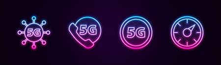 Set line 5G network, Phone with, and Digital speed meter. Glowing neon icon. Vector