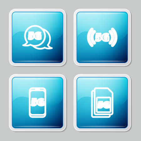 Set line 5G network, , Mobile with and Sim Card icon. Vector