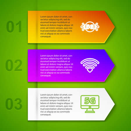 Set line 5G network, WiFi wireless, Monitor with and Sim card rejected. Business infographic template. Vector