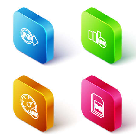 Set Isometric line 5G network, , Digital speed meter and Sim Card icon. Vector