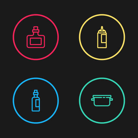 Set line Bottle of olive oil, Cooking pot, Sauce bottle and icon. Vector