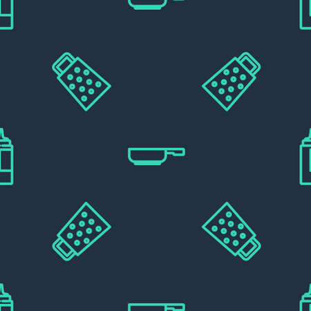 Set line Frying pan, Grater and Sauce bottle on seamless pattern. Vector  イラスト・ベクター素材