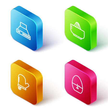 Set Isometric line Kitchen extractor fan, Citrus fruit juicer, Oven glove and timer icon. Vector