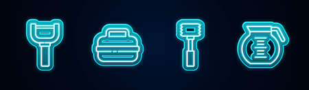 Set line Peeler, Cooking pot, Kitchen hammer and Coffee. Glowing neon icon. Vector