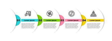 Set line Taxi tuk tuk, Hindu swastika, Yin Yang and Yagna. Business infographic template. Vector