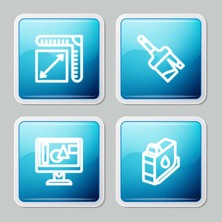 Set line Paper size, Paint brush, Computer monitor screen and Printer ink cartridge icon. Vector