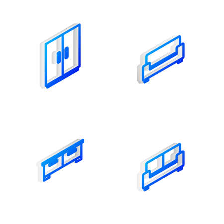 Set Isometric line Sofa, Wardrobe, Chest drawers and icon. Vector