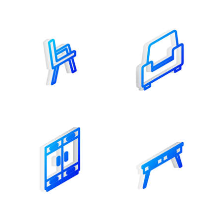 Set Isometric line Armchair,  Wardrobe and Office desk icon. Vector Çizim