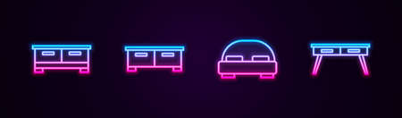 Set line Chest of drawers, big bed and Office desk. Glowing neon icon. Vector