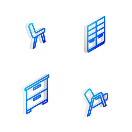 Set Isometric line Wardrobe, Armchair, Furniture nightstand and icon. Vector
