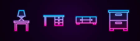 Set line Table lamp on table, Office desk, Chest of drawers and Furniture nightstand. Glowing neon icon. Vector