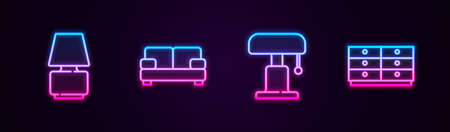 Set line Table lamp, Sofa, and Chest drawers. Glowing neon icon. Vector Çizim