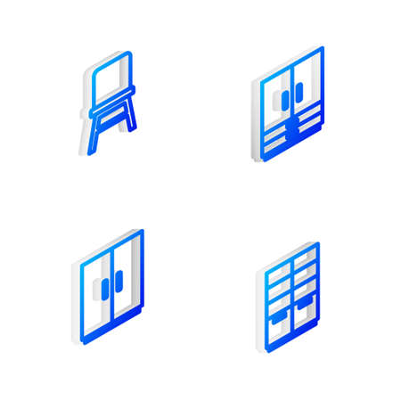 Set Isometric line Wardrobe, Chair, and icon. Vector