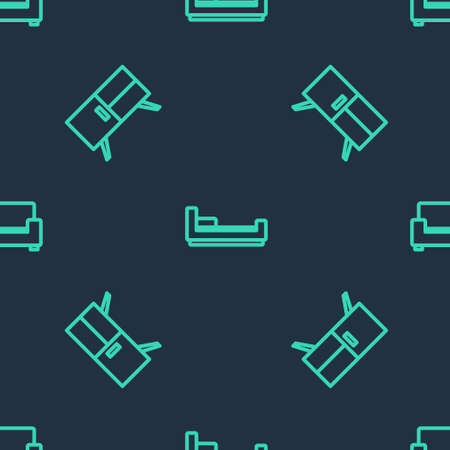 Set line Bed, Chest of drawers and Sofa on seamless pattern. Vector Çizim