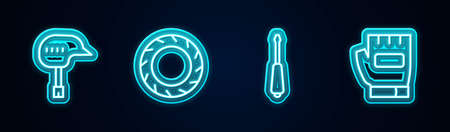 Set line Bicycle helmet, wheel tire, Screwdriver and Gloves. Glowing neon icon. Vector