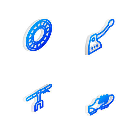 Set Isometric line Bicycle brake, ball bearing, handlebar and shoes icon. Vector Illustration